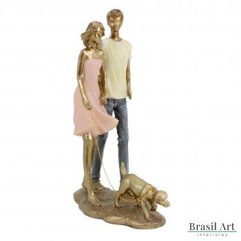 Estátua Casal com Cachorro