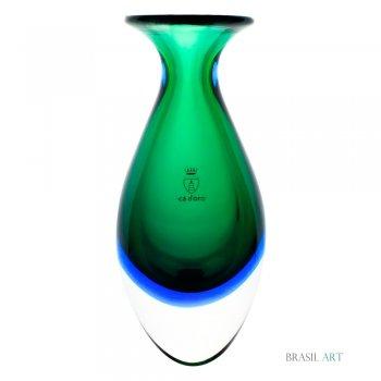 Vaso Mini Alto Verde com Água-marinha em Cristal Murano