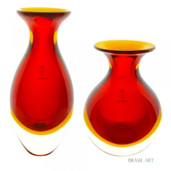 Conjunto de Mini Vasos Vermelho em Cristal Murano