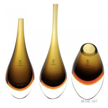 Trio Gotas Mini Fumê com Âmbar em Cristal Murano